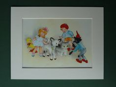 Original 1953 Enid Blyton Matted Print Willy by PrimrosePrints