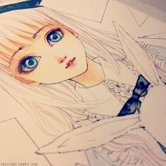 ✮ ANIME ART ✮ anime girl. . .wip ( work in progress ). . .big eyes. . .realism. . .bunny. . .rabbit. . .ribbons. . .drawing. . .ink. . .cute. . .kawaii