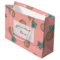 cute summer tropical gold foil pineapple pattern large gift bag