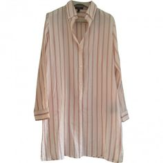 SHIRT DRESS BURBERRY (£85) ❤ liked on Polyvore featuring dresses, shirts, tops, slit dress, striped dress, brown dress, long shirt dress and stripe dress