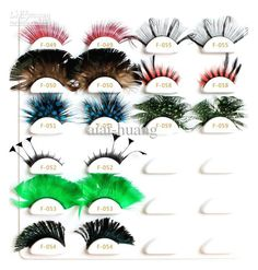Wholesale Feather - Buy 2012 Christmas Colorful Fake Eyelash Natural Curl Feather Eyelash False Eyelashes Crazy Eye Lashes, $1.36 | DHgate