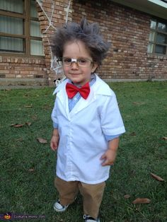 Halloween child Mad Scientist Costume. Should it bother me that he is wearing a bowtie?