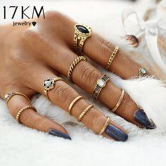 17KM 12pcs / sets Fashion Vintage Punk Midi Rings Set Antique Gold Color Boho Style Female Charms Jewelry Ring For Women #vintagejewelry #jewelry #fashionjewelry