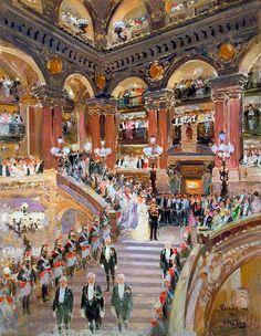L'arrivée du Roi George V et de la Reine Mary à l'opéra, Paris, 22 avril 1914, 1914 by Eugène Louis Gillot 1868–1925 Nationality: French