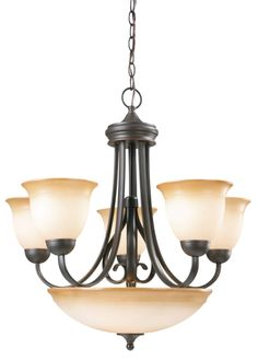 Design House 512624 Cameron Oil Rubbed Bronze 6 Light Chandelier
