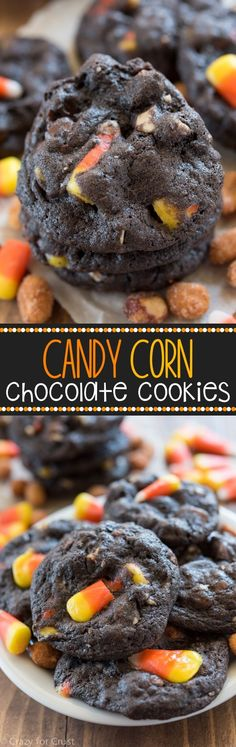 Chocolate Candy Corn Cookies - these soft and easy chocolate cookies are filled with candy corn and chocolate chips. These are the perfect cookies for Halloween!
