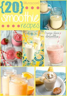 20 Smoothie Recipes - Delicious (and healthy!) treats, especially for those hot summer days when you need something refreshing! { lilluna.com }