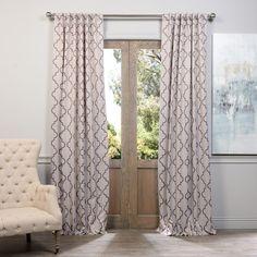 Exclusive Fabrics Seville Print Blackout Curtain Panel Pair (Grey 108L), Size 50 x 108 (Polyester, Geometric)