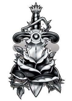 Black and Grey Rose Dagger Temporary Tattoo