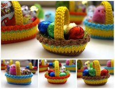 "Crochet pattern ""Dekokörbchen"" Material: wool remnants crochet hook No. 2 or 3 sewing needles Abbreviations: fm- solid stitch Hstb- half double crochet Stb- double crochet lm-air mesh km- Kettmasc Crochet Easter, Easter Crochet Patterns, Crochet Basket Pattern, Holiday Crochet, Crochet Patterns For Beginners, Crochet Baskets, Scrap Crochet, Crochet Crafts, Easy Crochet"