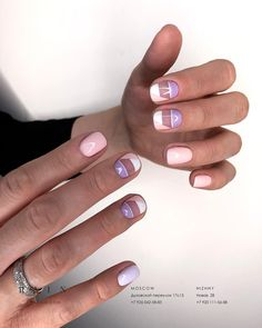 Pink, purple and empty space nails Pretty Nail Colors, Pretty Nails, Fabulous Nails, Perfect Nails, Gel Nail Art, Acrylic Nails, Nail Polish, Hair And Nails, My Nails