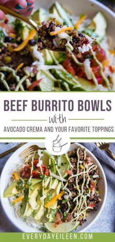 Enjoy ground beef burrito bowls that are easy to prepare and made with common spices for the most flavor-filled meat and rice bowl. Topped with homemade avocado crema and add your favorite toppings. A healthy homemade bowl that is better than any takeout. #burritobowl #beefburritobowl #beefricebowl #everydayeileen Authentic Mexican Recipes, Mexican Food Recipes, Best Beef Recipes, Healthy Recipes, Quesadillas, Burritos, Enchiladas, Tostadas, Easy Cooking