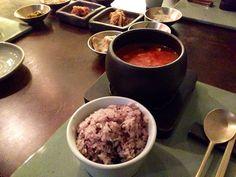 Common traditional Korean dining table. Korean food.