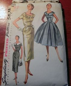 """1950s Evening Gown Fancy Dress sewing pattern Simplicity 1566 Size 12 Bust 30"""" by retroactivefuture on Etsy"""
