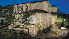 Eldorado Stone - Limestone - Stone with stucco Stone Facade, Stone Columns, Brick And Stone, Exterior Color Schemes, Exterior House Colors, Exterior Design, Stone Exterior, Eldorado Stone, Front Yard Design
