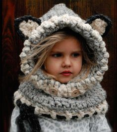 Cotton blend knitted scarf and hat/hoodie. Warm and cute, it comes in three great colors.