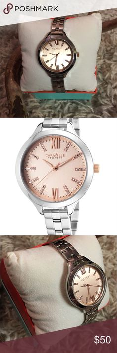 Caravelle silver and crystal watch 37mm Like new: Maker of Bulova, rose gold face, crystal number markers, fits small but extra links are included Bulova Accessories Watches