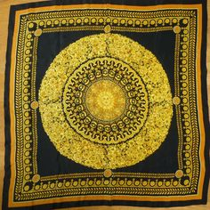 Vintage 1980s Massive Gold/Black Sunburst Geometric Scarf/Shawl HUGE! AMAZING!
