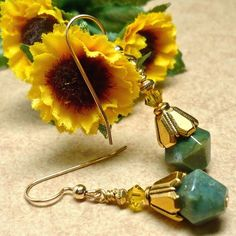 Green Jasper and Gold Earrings - Bead Style Magazine