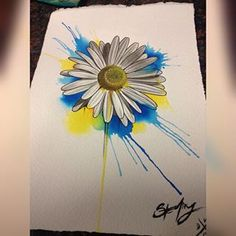 Instagram photo by st3rlingtat2du - Little watercolor I made into a tattoo. #watercolor #daisy #daisytattoo #watercolortattoo  #SterlingNilsen #DV8Tattoo @dv8tattooroseville