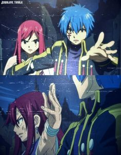 Jerza protecting each other  -Erza and Jellal  -Fairy Tail