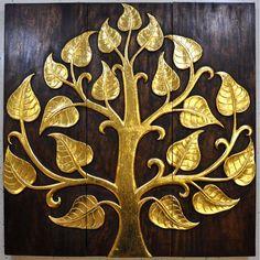 Relief Wandbild Teak Holz 90x90cm Buddha Baum