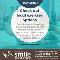 #HealthyTip — Stay active... Check out local exercise options. Opportunities to be active in your neighbourhood may include leisure centres, sports clubs, parks, walking trails, swimming pools or exercise classes. / For a Free Smile Assessment*, contact us at 08 9468 7174 - www.SmileDesignStudio.com.au / (*) Please call our office for Terms & Conditions. #DrVickyHo #perth #australia #smiledesignstudio #dentalpractice #cosmetic #dentistry #job #mosmanpark #stirlinghighway #tmj #services…