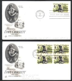Davy Crockett first day covers single & block of 4 Aug 17, 1967 San Antonio, TX