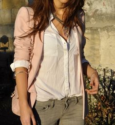 Army pants, pale pink blazer, and sheer white blouse