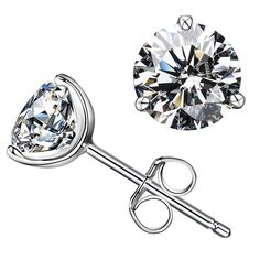 Gift Of Love Sterling silver Rhodium Plated Swarovski Simulated Diamond CZ Stud Earrings -- Check this awesome product by going to the link at the image.