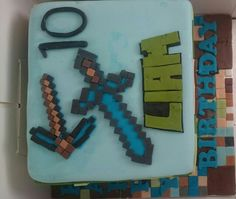 http://minecraftfamily.com  for the best minecraft toys! Diamond sword and pickaxe on a minecraft cake