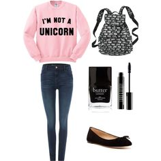 School #5 by amberpend on Polyvore featuring polyvore, fashion, style, Levi's, Via Spiga, Victoria's Secret PINK, Lord & Berry and Butter London