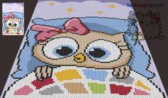 (4) Name: 'Crocheting : Sleepy Owl C2C Graph