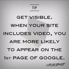 Video helps you rank much higher on Google's Search Engine Results Pages (SERPs). According to Forrester Research you are 53 times more likely to appear on Google page one. #MarketingTip #Marketing #DigitalMarketing #SocialMediaMarketing #SocialMediaStrategist  #SocialMediaManagement #SocialMedia #AgencyLife #CreativeAgency #MarketingAgency #Smile #Blogging #Blog #Advertising #Content #ContentMarketing #PR #OC #Digital #Brand #Branding #Instagram #Instagood #Happy