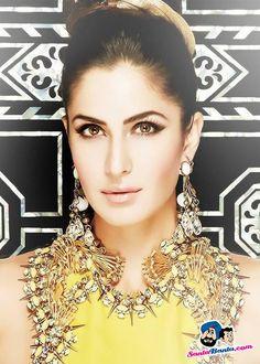 Katrina Kaif Indian Actress Beauty make up gold Earings