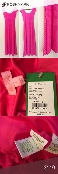 ✨NWT Lilly Pulitzer Ramsay Maxi Dress (sm)✨ Gorgeous pink textures Lilly maxi dress! Perfect to dress up or down with the short sleeve and side slit! Has lining that ends just above the knees 💕 Lilly Pulitzer Dresses Maxi