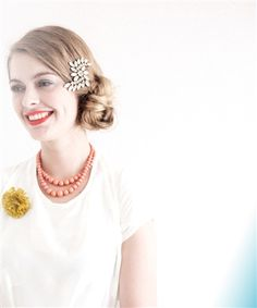 crystal swirl brooch...ban.do    love the necklace & the flower pin on the white