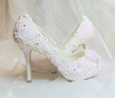 Custom Made Wedding Shoes - Made from lace from my mom's wedding dress