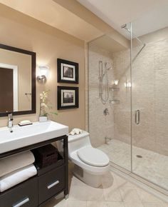 """Modern 3/4 Bathroom with Signature Hardware - 40"""" Sylar Console Vanity, Darcy Etched Opal Glass 5"""" Wide Wall Sconce"""