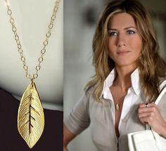 14kt gold leaf pendant leaf necklace, celebrity inspired fashion trend, celebrity jewelry jennifer aniston necklace. , via Etsy.