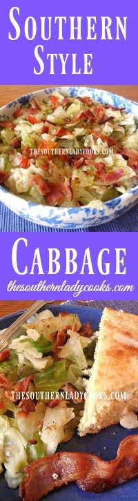 the-southern-lady-cooks-southern-style-cabbage The-Southerner-Cook-cooks-cabbage after Mediterranean style Veggie Dishes, Vegetable Recipes, Southern Cooking Recipes, Country Cooking, Southern Food, My Favorite Food, Favorite Recipes, Cooked Cabbage, Creole Recipes