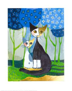 Romance Art Poster Print by Rosina Wachtmeister, Cat Drawing, Painting & Drawing, Cat Embroidery, Illustrations, Illustration Art, Romance Art, Cat Posters, Cat Colors, Art Plastique