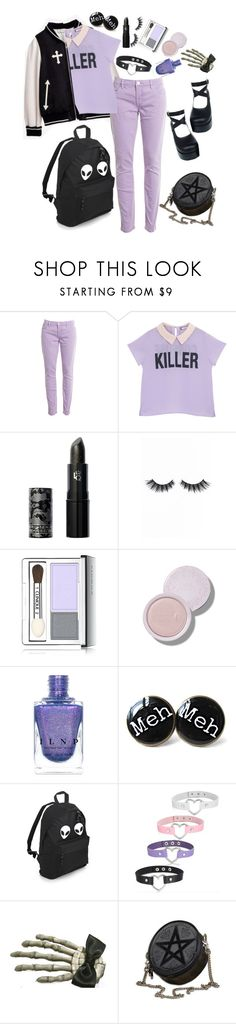 """Pastel Goth Back To School #1 <3"" by kawaii-little-alpaca ❤ liked on Polyvore featuring BLANKNYC, Lipstick Queen, Violet Voss, Clinique and Clips"