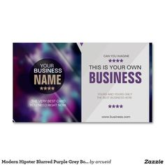 Modern Hipster Blurred Purple Grey Bokeh Card Business Card