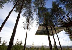 Treehotel i Harads, Lappland. Träkojan The Mirrorcube #SecretEscapesSverige