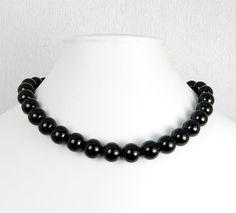 Black Pearl Necklace Bridesmaid Jewelry Pearl by UrbanPearlStudio, $22.00