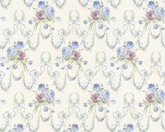 Tapete landhausstil blumentapete kleine blumen hellblau for Tapete ornamente blau