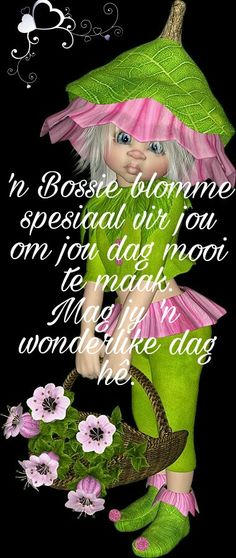 Lekker Dag, Goeie More, Good Morning Wishes, Afrikaans, Pretty Flowers, Crochet Hats, Qoutes, Van, Sayings