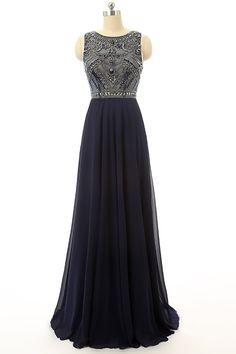 Cheap Prom Dress Navy Blue Beaded Long Graduation Dresses ED0849 – Simibridaldress