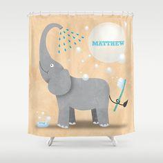 Personalized Elephant Shower Curtain  by krankykrab